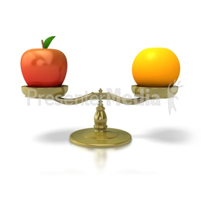 Apples to oranges science. Balance clipart comparison