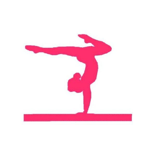 Gymnastic silhouette decals pink. Balance clipart gymnastics beam