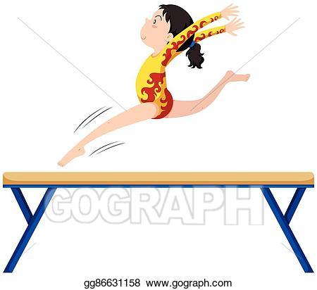 Balance clipart gymnastics beam. Eps vector on stock