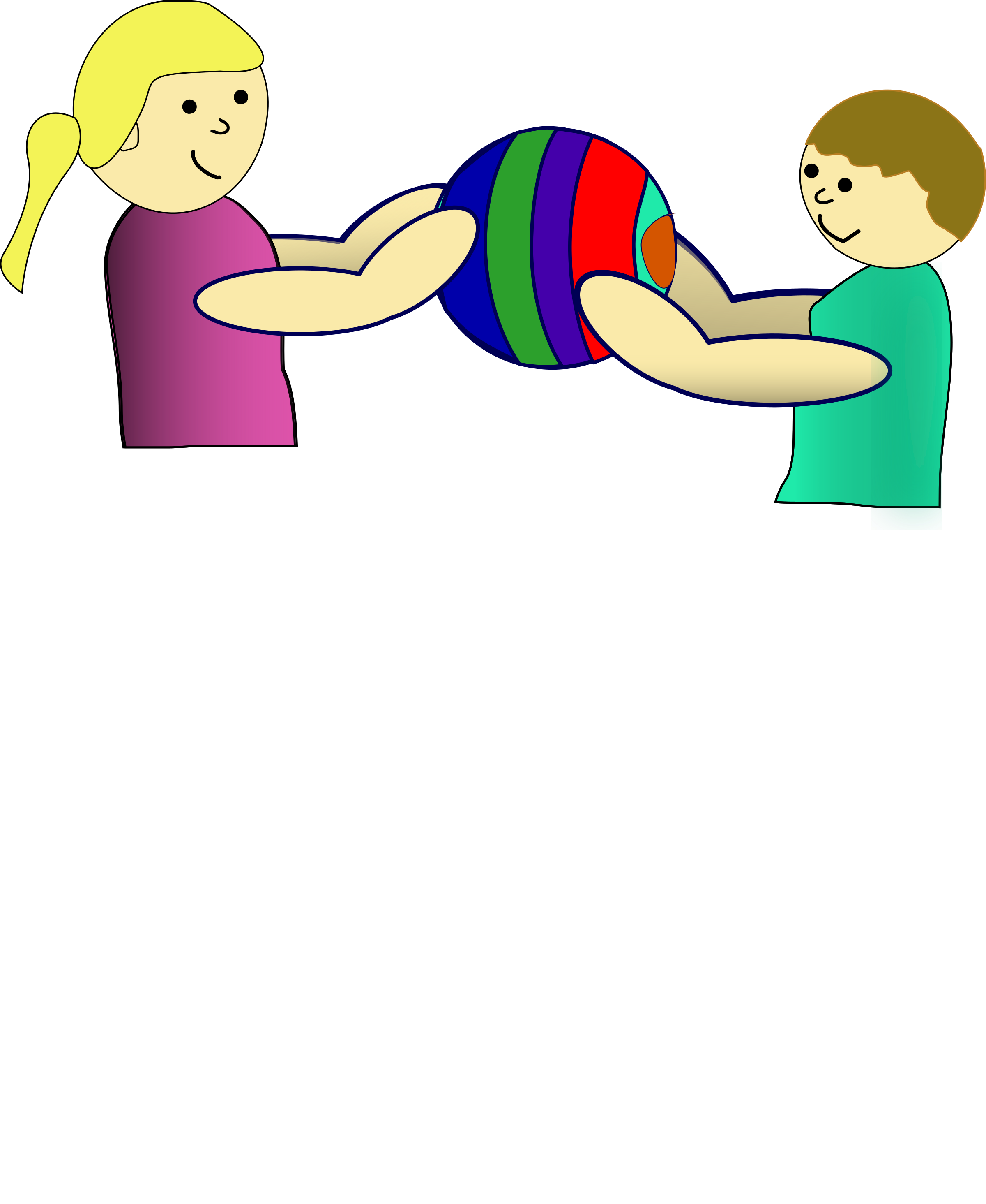 Children sharing a ball. Microsoft clipart clip art