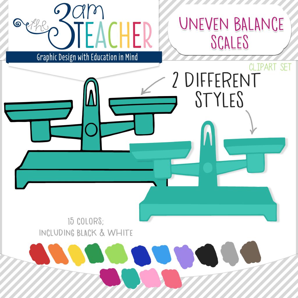 Scale clipart math. Uneven balance scales digital