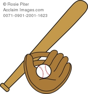 Ball clipart baseball bat. Clip art illustration of