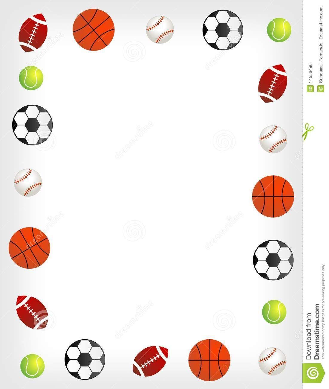 Sports clip art five. Balls clipart border