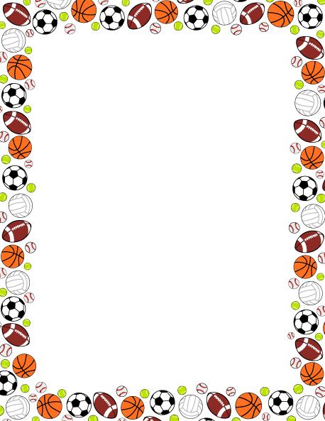Printable sports ball use. Balls clipart border
