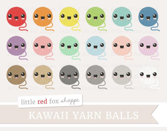 Balls clipart cute. Kawaii yarn ball knitting