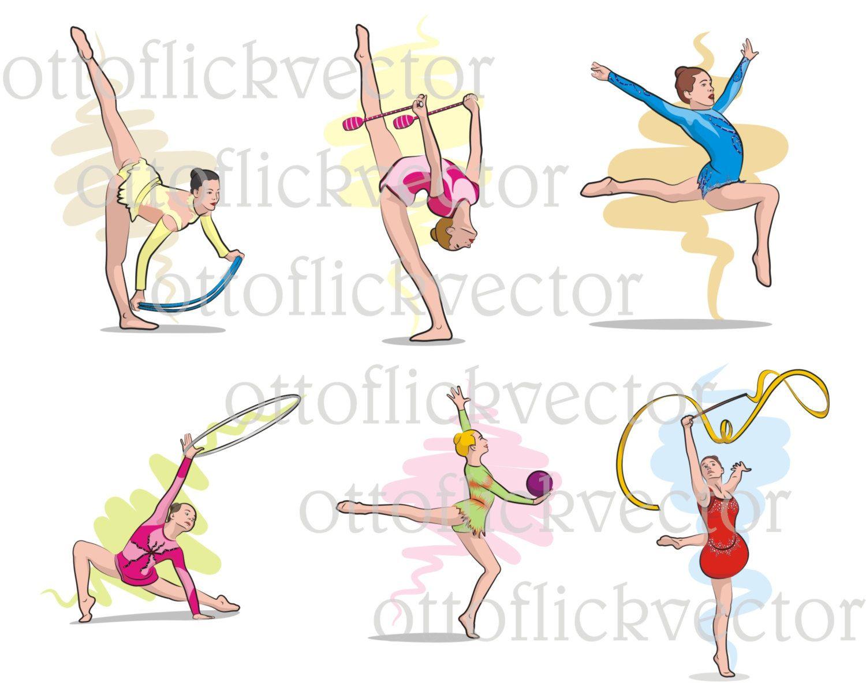 Rhythmic vector exercise girls. Ball clipart gymnastics