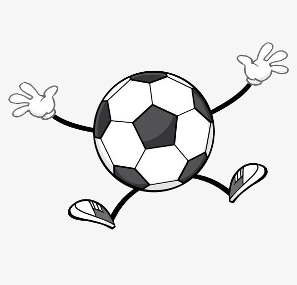 Ball clipart motion. A dancing football villain