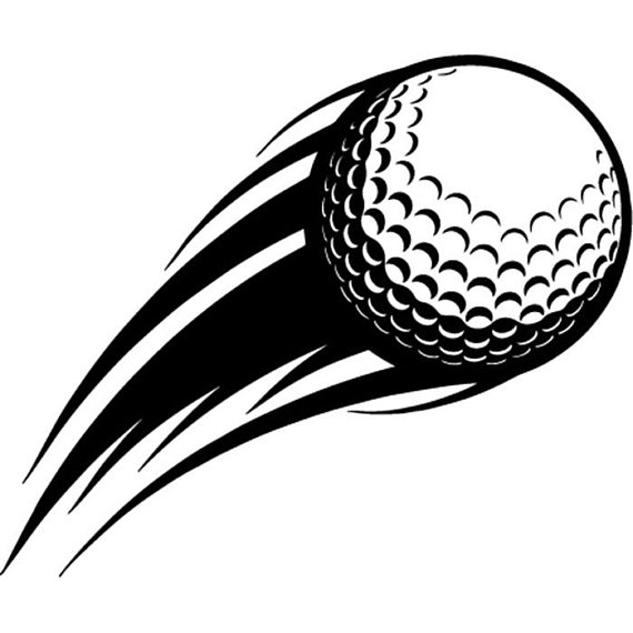 Golf action flying shot. Ball clipart motion