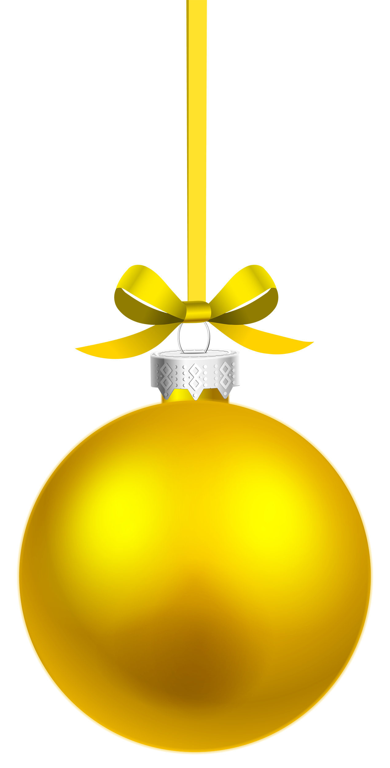 Yellow hanging christmas ball. Safe clipart silver