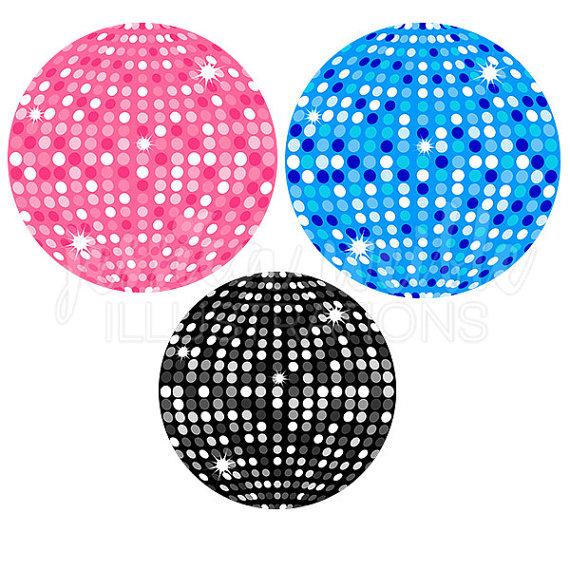 Disco ball cute digital. Balls clipart party