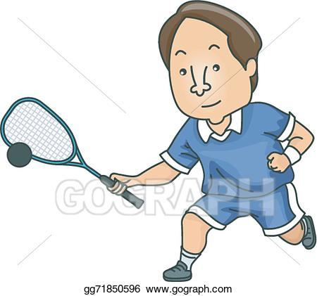 Balls clipart squash racket. Eps illustration man vector