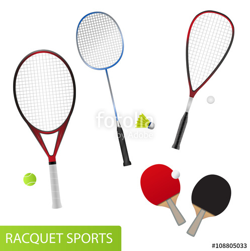 Balls clipart squash racket. Set of racquet sports