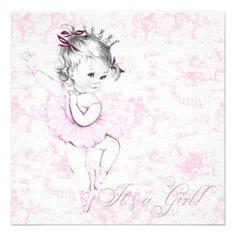 Ballerina clipart baby shower. Adorable vintage pink girl