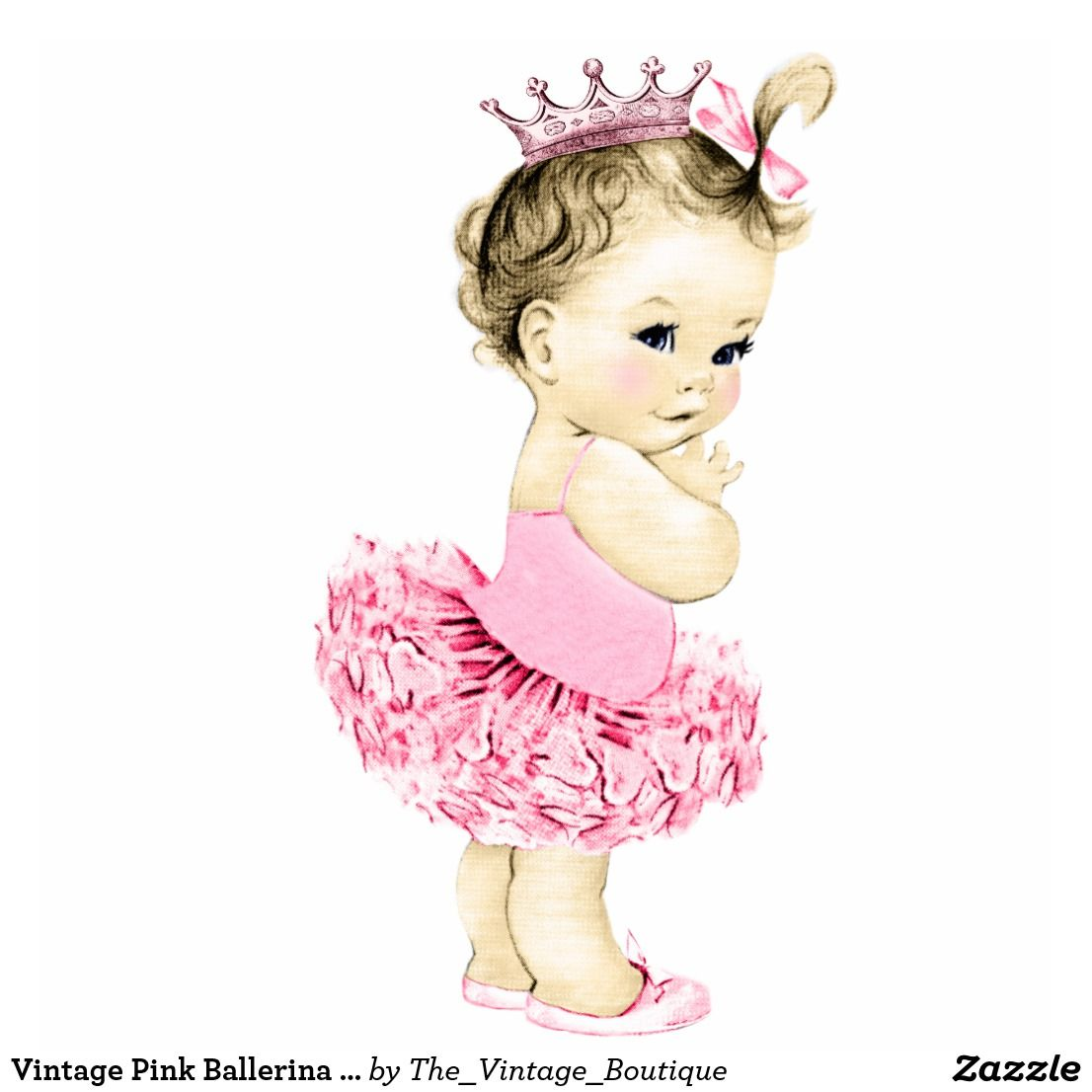 Vintage pink princess girl. Ballerina clipart baby shower