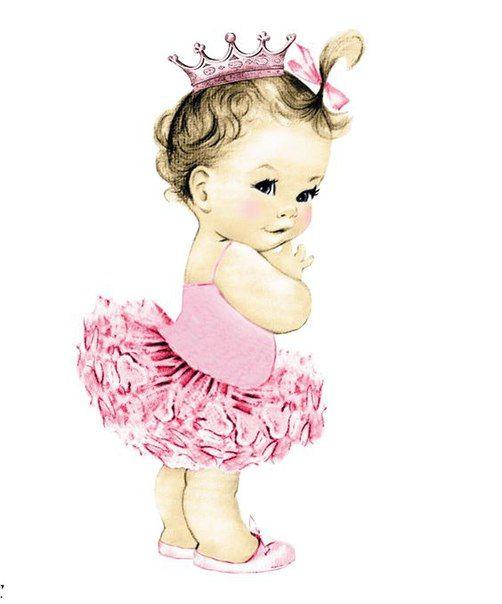 vintage girl. Ballerina clipart baby shower