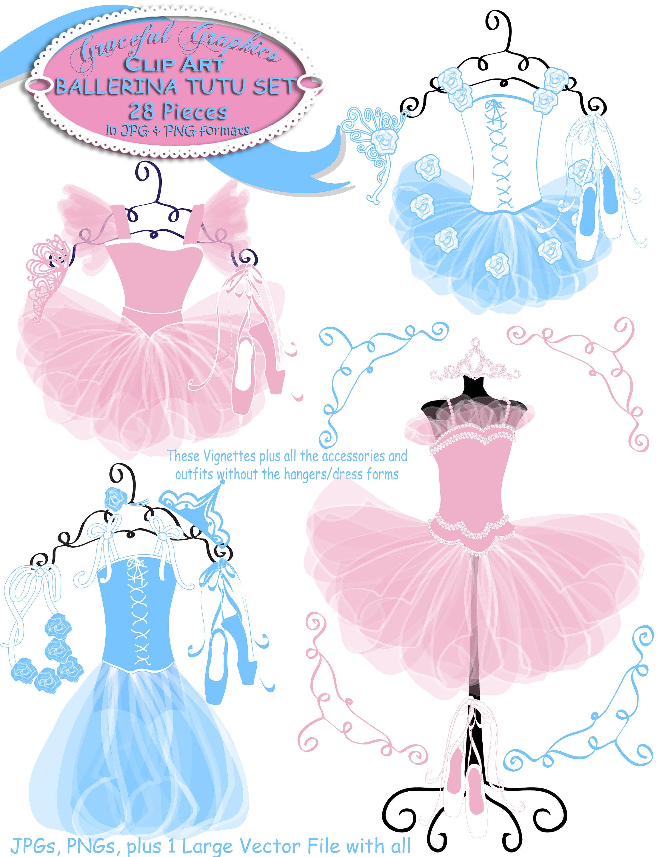Ballerina clip art set. Tutu clipart ballet dress