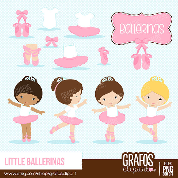 Little ballerinas digital set. Ballerina clipart ballet slipper