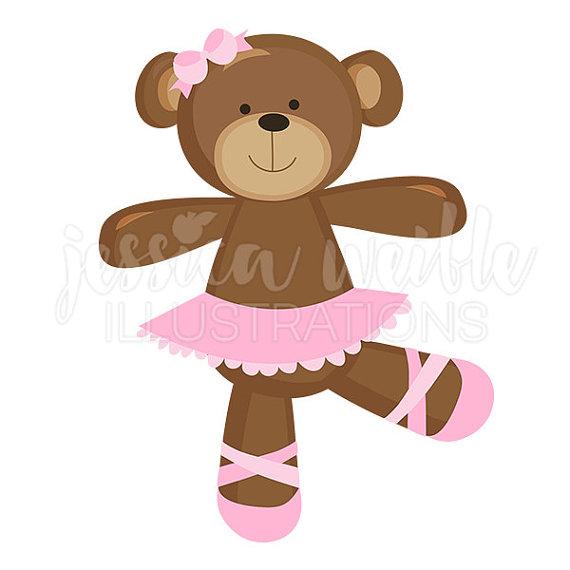 Bears clipart ballerina. Bear cute digital ballet