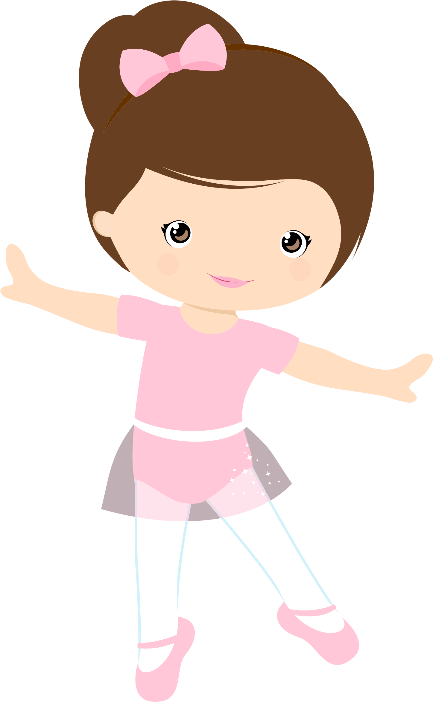 Little girl ballerina by. Skin clipart illustration