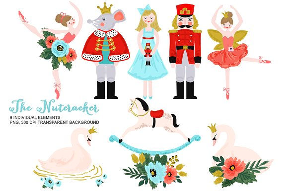 Ballerina clipart christmas. Nutcracker ballet illustrations creative