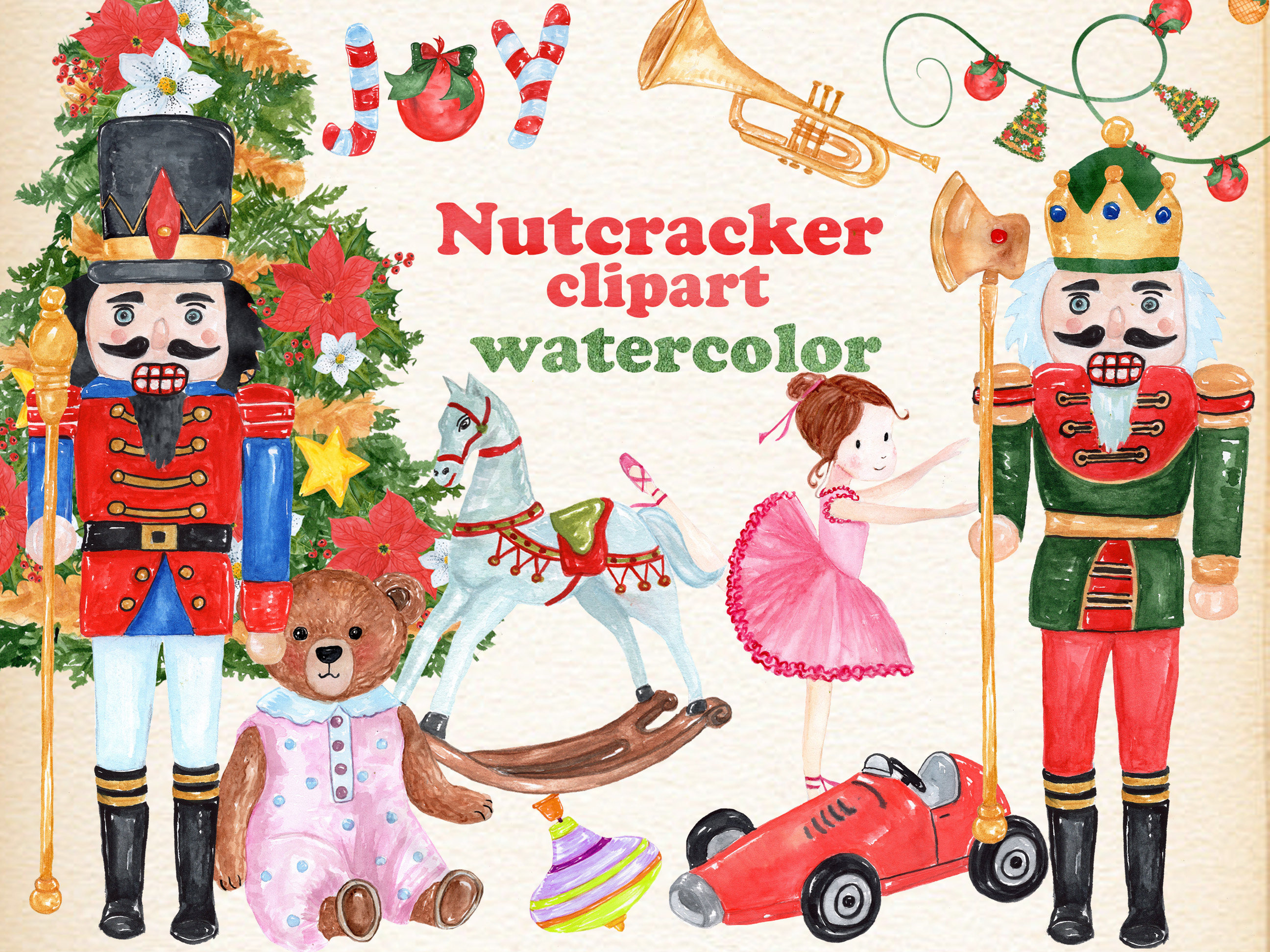 Watercolor nutcracker toy soldiers. Ballerina clipart christmas