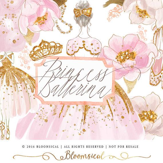 Princess ballet clip art. Ballerina clipart glitter