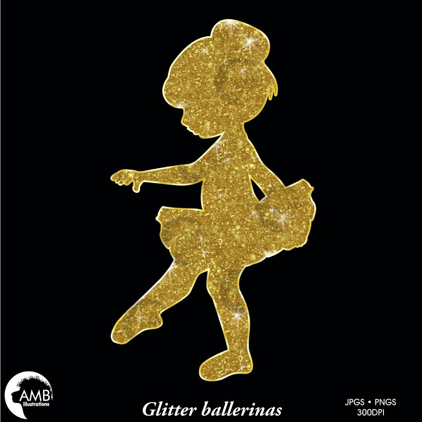 Silhouette silhouettes ballet in. Ballerina clipart gold glitter