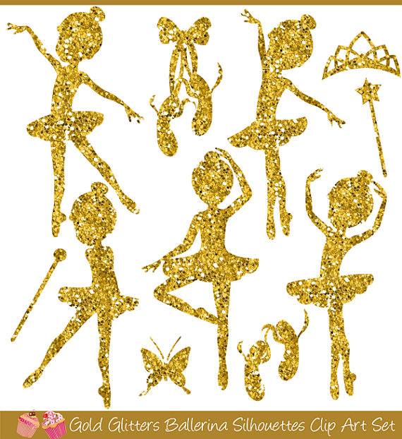 Ballerina clipart gold glitter. Glitters silhouettes set products