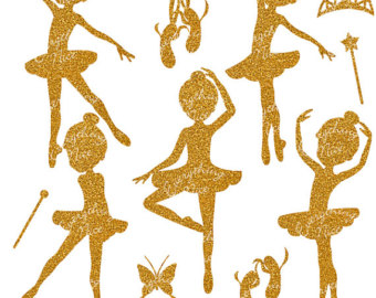Ballerina clipart gold glitter. Silhouettes set