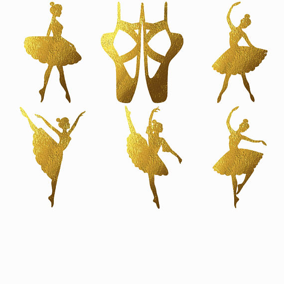 Silhouette ballet clip art. Ballerina clipart gold glitter