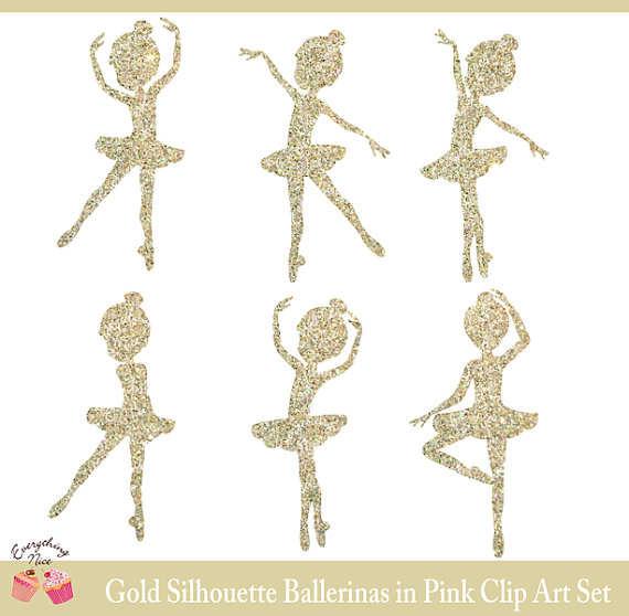 Ballerina clipart gold glitter. Silhouettes in pink set