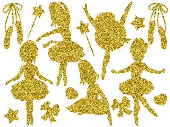 Ballerina clipart gold glitter. Digital vector girls