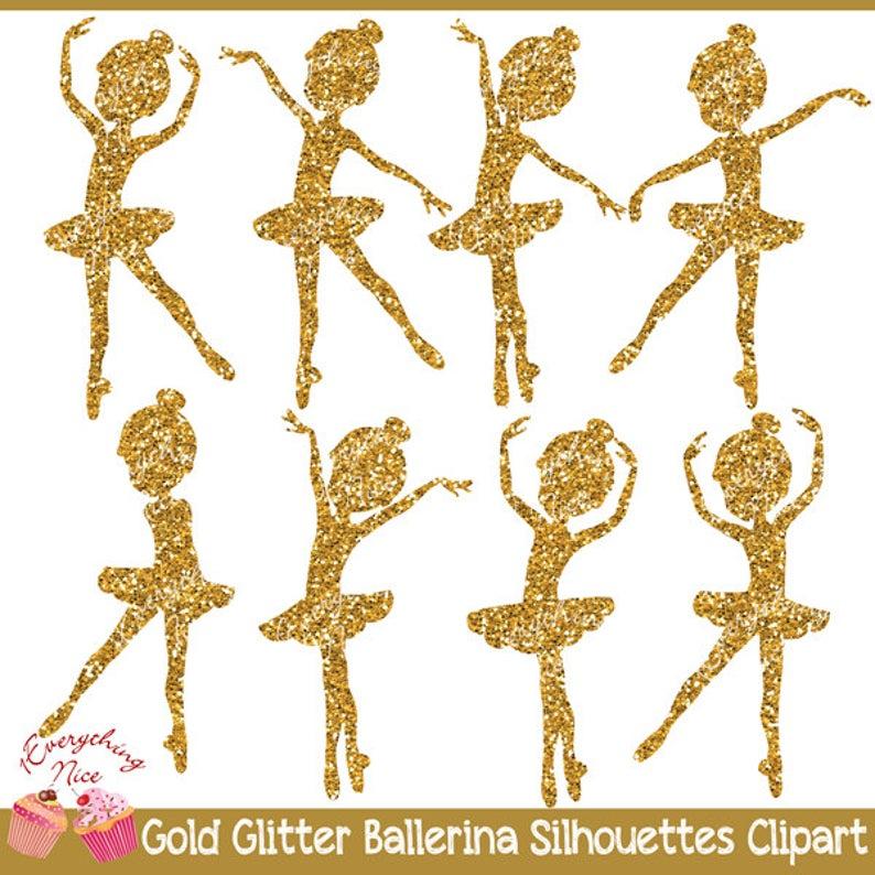 Silhouettes set . Ballerina clipart gold glitter