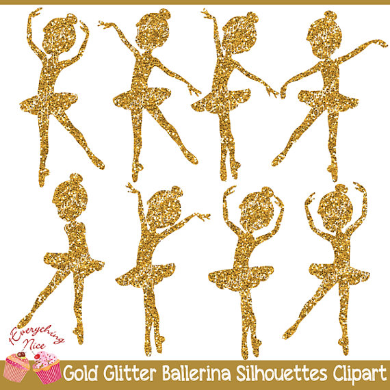 Silhouettes set from everythingnice. Ballerina clipart gold glitter