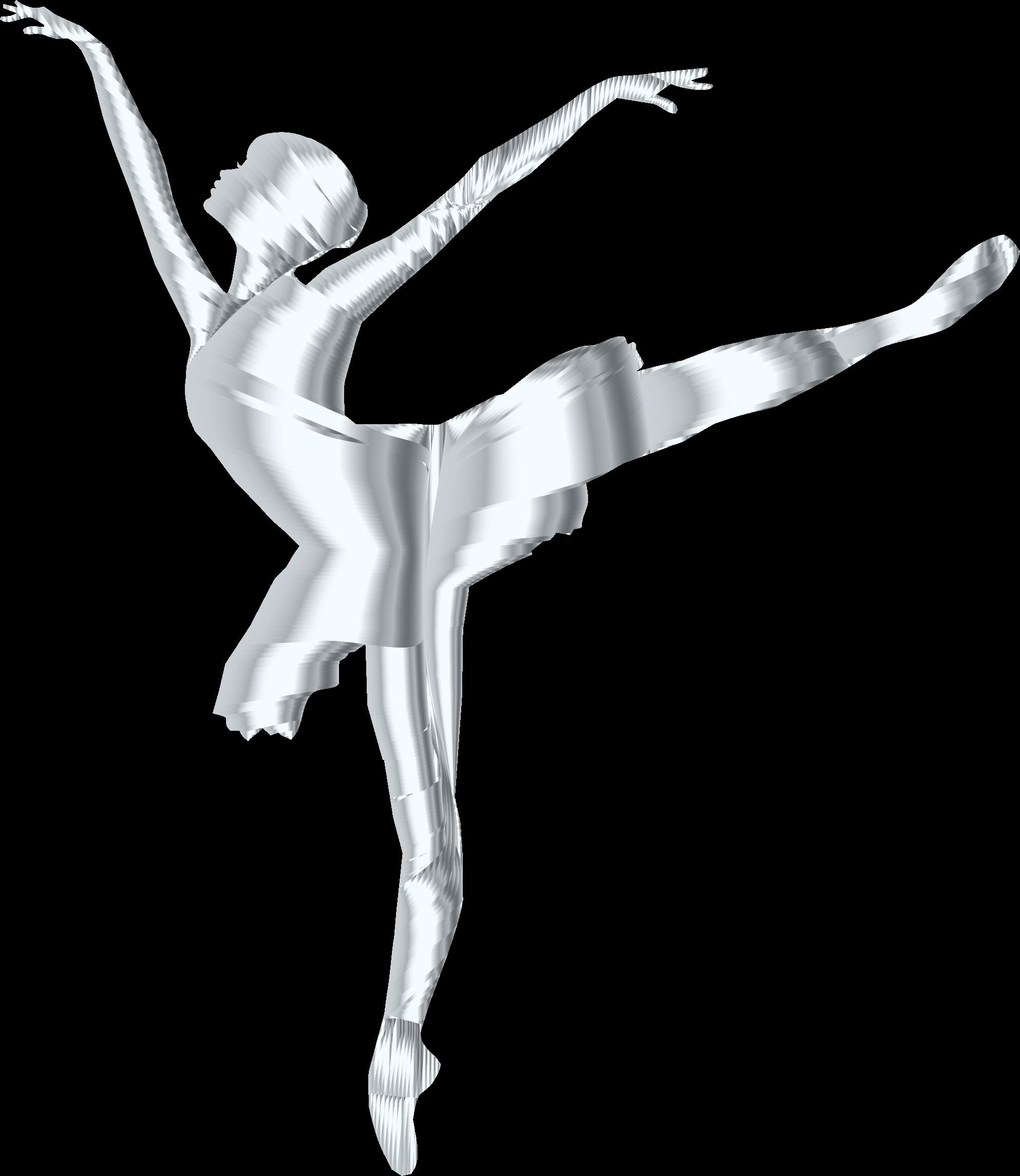 Silver graceful ballerina silhouette. Dance clipart modern dance