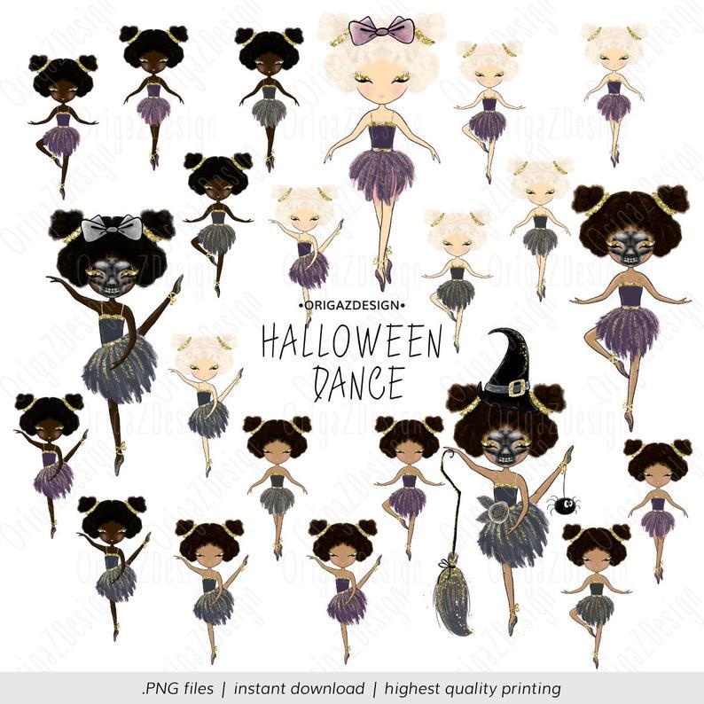 Dance witch gothic dolls. Ballerina clipart halloween