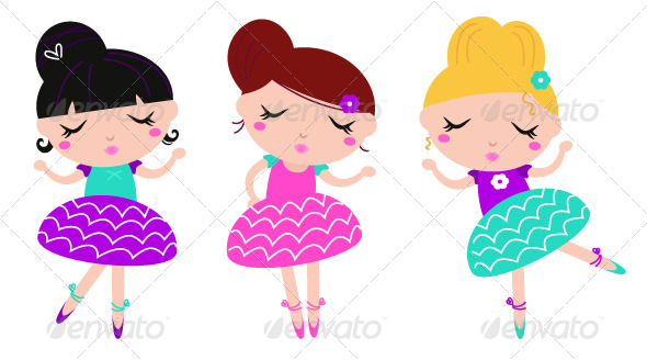 Dancing girls set by. Ballerina clipart lady