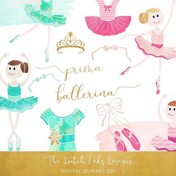 Set watercolor ballet images. Ballerina clipart lady