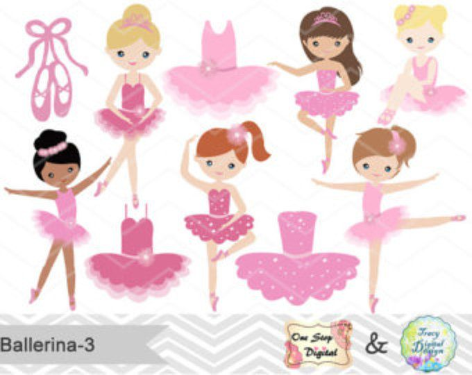 Ballerina clipart little girl. Digital pink ballet clip