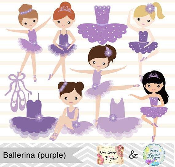 Digital purple ballet clip. Ballerina clipart little girl