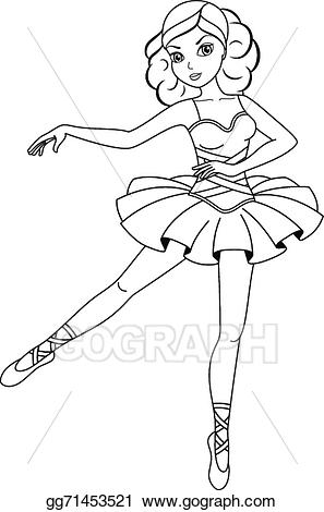 Ballerina clipart outline. Vector stock coloring page