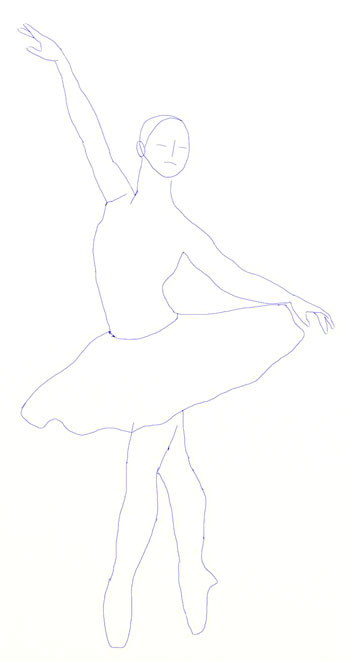 Ballerina clipart outline. How to draw a