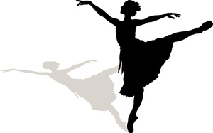 Ballerina image a silhouette. Dancing clipart shadow