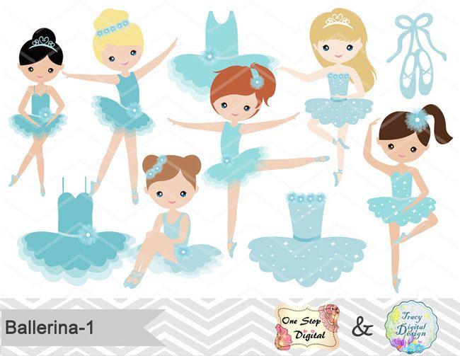 Digital ballerina clip art. Ballet clipart little girl