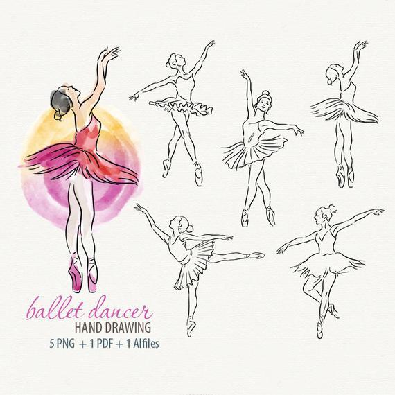 Watercolor ballet dancer girl. Ballerina clipart vector