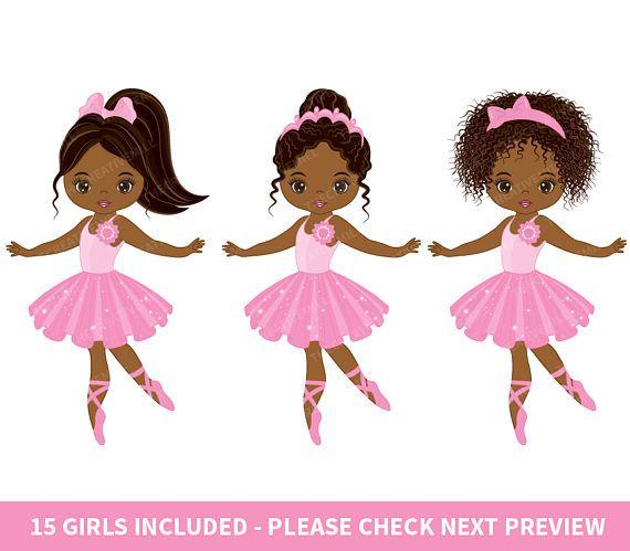 Ballerina clipart vector. African american pix