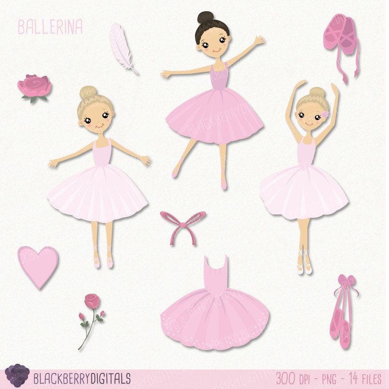 Ballet set clip art. Ballerina clipart vector