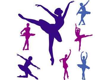 Silhouette etsy svg dancers. Ballerina clipart vector