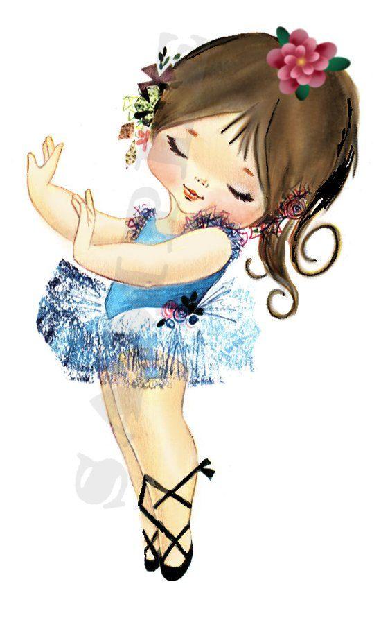 Brunette girl bg digital. Ballerina clipart vintage
