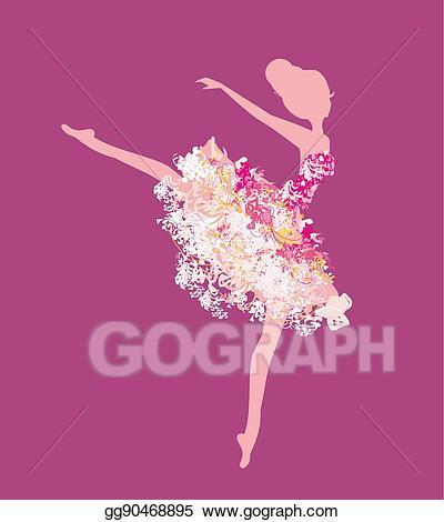 Eps illustration beautiful vector. Ballerina clipart vintage